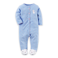 carter's® Cat Snap-Front Terry Footie in Blue/Pink