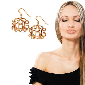 Monogram Earrings - 0.8 Inch Filigree Earring with Three Initials - 18k Yellow Gold Plated On Brass