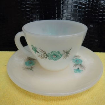 Vintage Fire King Oven Ware Bonnie Blue Carnation Flower Coffee Tea Cup Mug