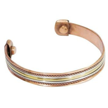 Healing Cooper Metal Bracelet Wired Brass and Silver Cuff Magnetic Bracelets