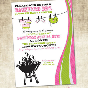 Baby Shower Invitation, BBQ Baby Shower (PRINTABLE FILE)