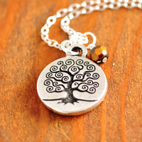 Tree of Life Necklace - sterling silver, silver tree of life, tree necklace, tigar eye necklace