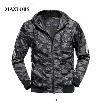 Trendy Men Casual Jacket Autumn Outwear Hooded Camouflage Bomber Jackets Male Slim Fit Thin Zipper Outerwear Coats Military Waterproof AT_94_13