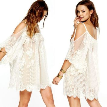 Sheer Bohemian Beach Swimsuit Cover-Up