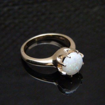 Vintage Ladies Genuine Round Opal 14K Yellow Gold by barakagems