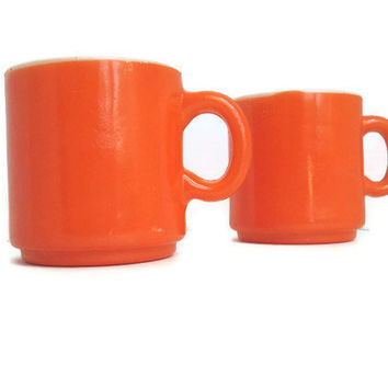 Vintage Stacking Mugs Tangerine Tango Orange by TheRetroStudio