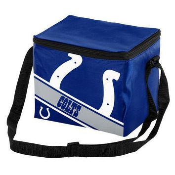 NFL Indianapolis Colts Big Logo Striped 6 pack Cooler Lunch Box Bag Insulated