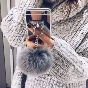 2016 Silver Luxury Metal Rope Mirror TPU Tassel phone Capa fake rabbit fur ball For iPhone 6 S / 6plus 4 5 S SE Back Cover Case