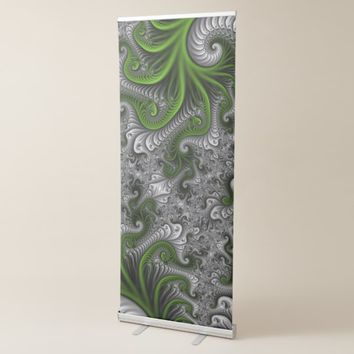 Fantasy World Green And Gray Abstract Fractal Art Retractable Banner