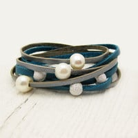 Blue Silver Pearl & Sterling Leather Wrap Bracelet / Fresh Water Pearl w/ Eco Friendly Leather / boho gladiator ocean wedding star inspired