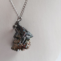 Long Wire-Wrapped Bismuth Necklace