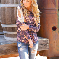 Meet Me In Montana Top - Charcoal/Peach