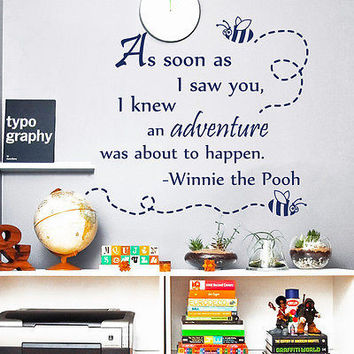 Wall Decal Quotes Winnie The Pooh Bee As Soon Decals Nursery Room Decor MR341
