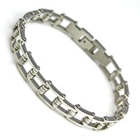New Men's Silver Bracelet leather wristband fashion gift black stainless steel