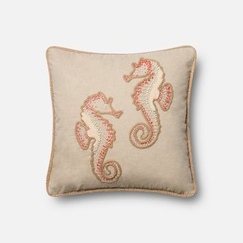 Loloi Beige / Coral Decorative Throw Pillow (P0447)
