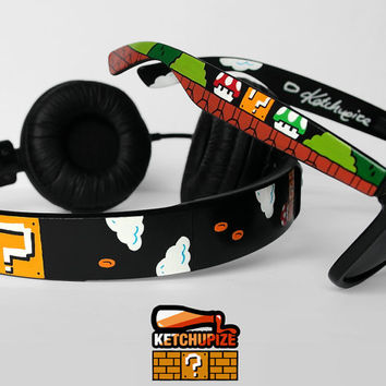 Super Mario Headphones and Sunglasses SET  Cool by ketchupize