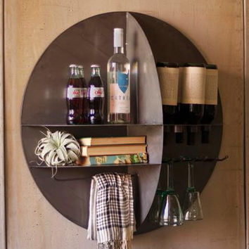 Round Metal Wall Wine Bar