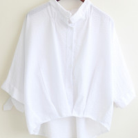 White Stand Collar Pleated Crop Blouse