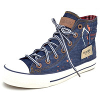 Vintage canvas shoes women retro high canvas shoes cotton made finishing water wash denim Women flat shoes All match
