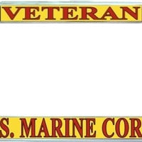 Marine Veteran Metal License Plate Frame Holder Chrome, Black or Gold for Auto Car Truck Marines USMC