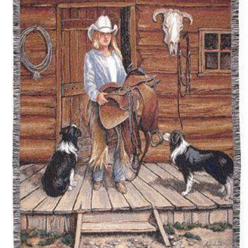 Throw Blanket - Cowgirl And Dogs