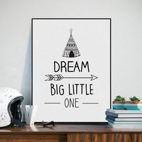 Black White Nordic Typography Dream Big Quote Art Print Poster Nursery Wall Picture Canvas Painting Boy Kids Room Decor No Frame