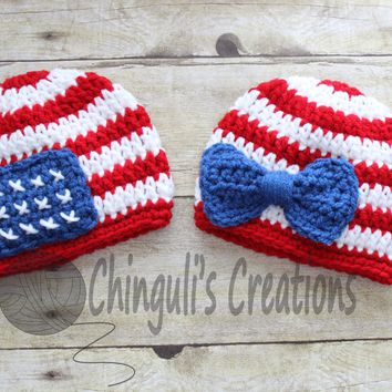 Twins Patriotic Hat 4th of July Hat Crochet baby girl patriotic with bow, 4th of July baby boy hat, red, white stripes and flag