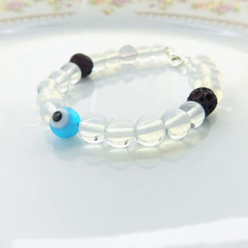 Evil Eye Bracelet - Good Luck Bracelet - Sea Glass - Bead Bracelet - Lava Rock - Beaded Bracelet -OR- Choose Your Charm