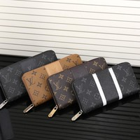 """Louis Vuitton"" Classic Logo Letter Print Long Section Zip Double Layer Wallet Handbag Purse"