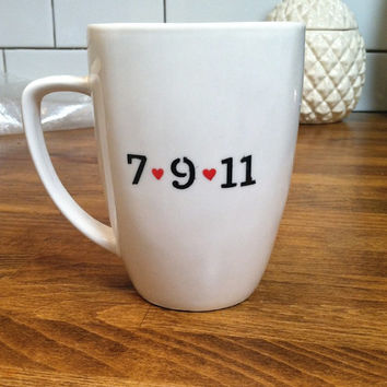 wedding date or anniversary mug / coffee cup , custom and personalized mug , date mug