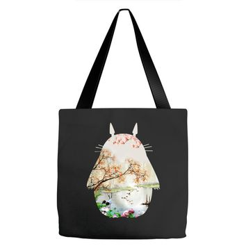 Totoro With Japanese Landscape Tote Bags