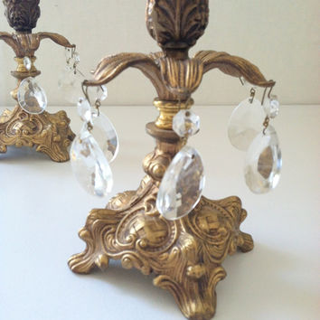 Art Nouveau and Matson Inspired Antique Ornate Candelabrum Pair Hollywood Regency Mad Men Home Decor