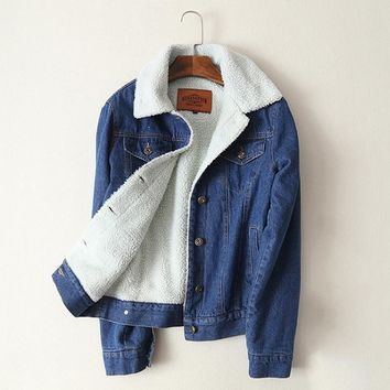 Women Fur Lined Denim Jacket