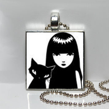 Emily the Strange, Black and White Emily and Cat, Goth, Square Tile Pendant Necklace SALE
