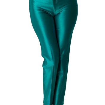 70s Bojeangles Teal Satin Spandex Disco Pants