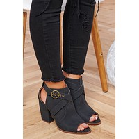 Cassie Faux Leather Booties (Black)
