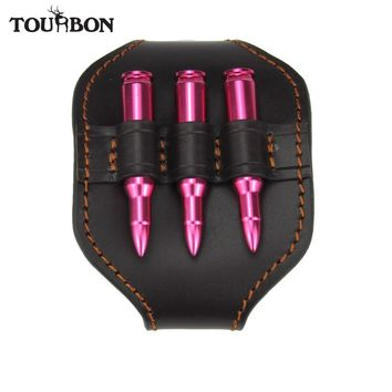 Tourbon Hunting Accessories Rifle Leather Ammo Holder Cartridge Carrier Bullets Pouch Shell Case for Waist Carrying