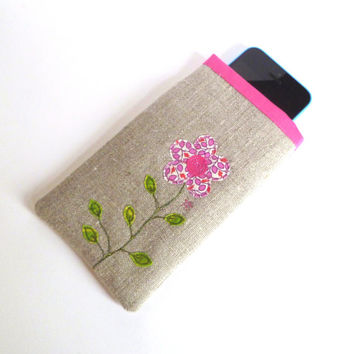 Cellphone, mobile or iPhone 5 case for women. Glasses case. Embroidered pink flower design. Natural linen. Unique birthday gift for her.