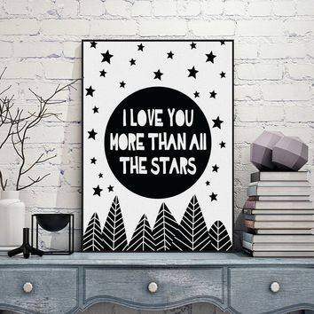 Fashionable Modern Nordic Black White Minimalist Typography Star Love Quotes Art Print Poster Wall Picture Canvas Painting Livin