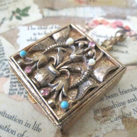 Vintage Ornate Jeweled Pill Box