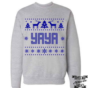Yaya Christmas Sweatshirt. Ugly Sweater. Tacky Christmas Sweater. Merry Christmas.