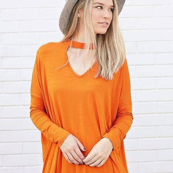Autumn Maple PIKO Long Sleeve Choker Top