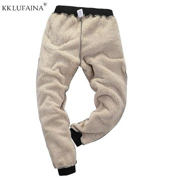 Men's Super Winter Warm Pants Outside Fleece Joggers Thicken Sweatpants Heavyweight Zipper Trousers Streetwear Men L 6XL 7XL 8XL