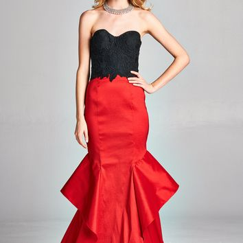 TWO PIECE SWEETHEART LACE STRAPLESS MERMAID PROM FORMAL DRESS