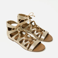 FLAT METALLIC ROMAN SANDALS - View all-SHOES-WOMAN | ZARA United Kingdom