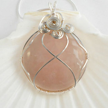 Wire Wrapped Pendant, Rose Quartz Necklace, Handmade Jewellrey