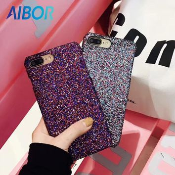 AIBOR Luxury Colourful Sexy Diamond Secret Glitter Bling Paillettes Powder Sequins Case For iPhone X 7 6 6s 8 Plus Sparkle Cover