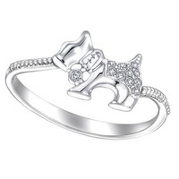 18K White Gold Diamond Accents Milgrain Pet Dog Puppy Ring (1/20 cttw, G-H Color, SI1 Clarity)