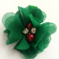 Christmas Hair Clip Barrette - Dark Green Chiffon Flower Clip for Christmas - Girls Christmas Accessory - Christmas Hair Clip for Girls -