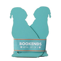 Metal Dog Bookends, Turquoise Set of 2 - 7-in